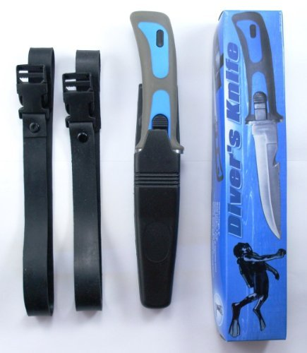 Dive Master Knife - Scuba Diver Knives Diving Gear Knife Navy Seal Sheath Blue