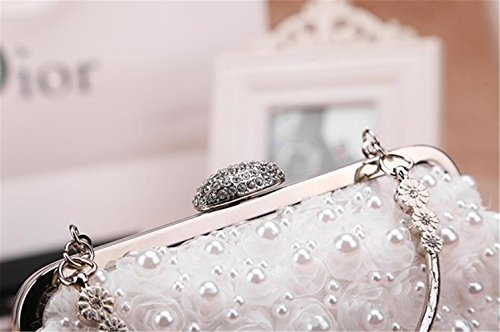 Lawevan® mujeres telas no tejidas L17cm (tapa) * L25cm (parte inferior) * H14cm Bolso de embrague cubierto con las perlas viene con la cadena de la mano y la correa de hombro blanco