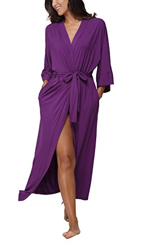 FADSHOW Womens Soft Long Sleepwear Modal Cotton Wrap Robe Bathrobe NightGown,Pure Color