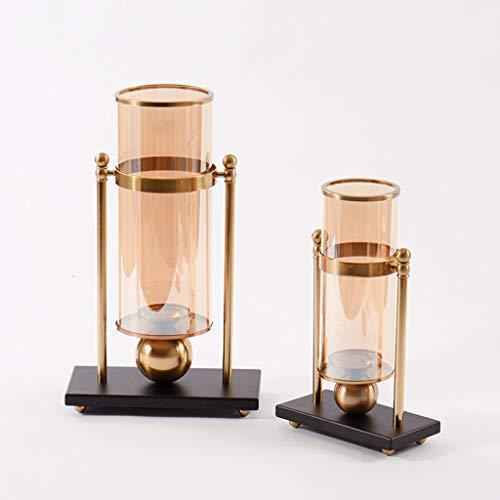 vase Glass Vase Hotel Metal Candlestick Modern Minimalist TV Cabinet Vase (Size : 2034cm)