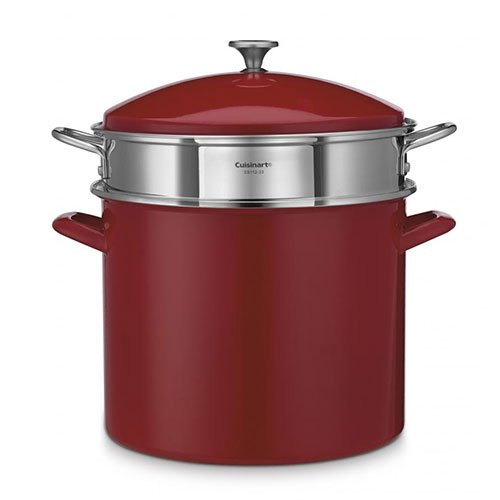 20 quart stock pot red - 4