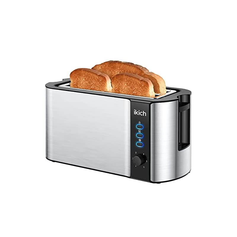 IKICH Toaster 4 Slice, Toaster 2 Long Slot Stainless Steel, Warming Rack, 6 Browning Settings, Defrost/Reheat/Cancel…