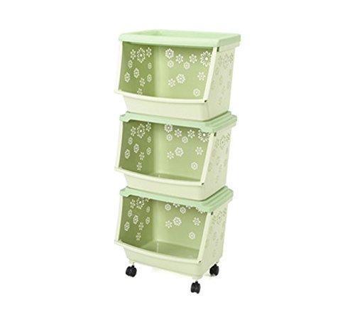 フロアストレージシェルフプラスチック用品道具ラックラフフルーツ&野菜棚キッチン収納バスケット ( 色 : 緑 ) B0794PR6JS 14143 緑 緑