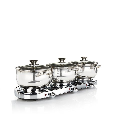 Infusion Collection 7-piece Stainless Triple-burner Buffet Set with (3) 3qt Casserole Pans