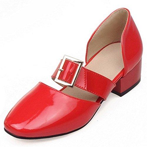 Zapatos Mujer Cordones Rojo COOLCEPT Bombas Ancho Moda Tacon Sin Cerrado Zapatos 1aZPq
