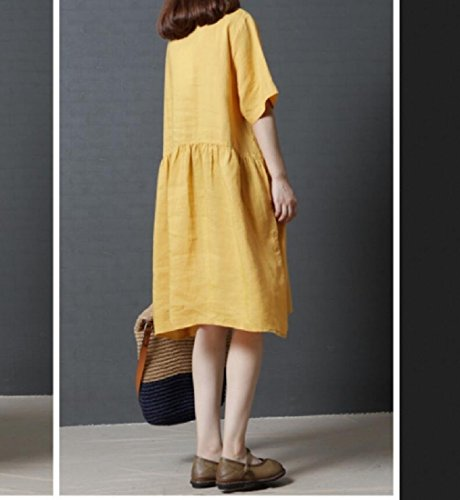 Color Loose Round Women Flax Swing Soft Pockets Solid Neck Coolred Red Dress zRqp0awa