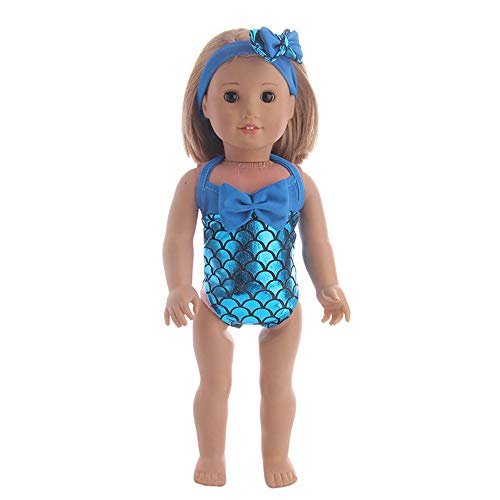 Beautiful Swimsuit - Pollyhb Clothes for Doll,Beautiful Swimsuit for 18 Inch Our Generation American Girl Doll,Accessories Set Toys Doll Clothes Wardrobe for 18 Inch American Girl Doll (Sky Blue)
