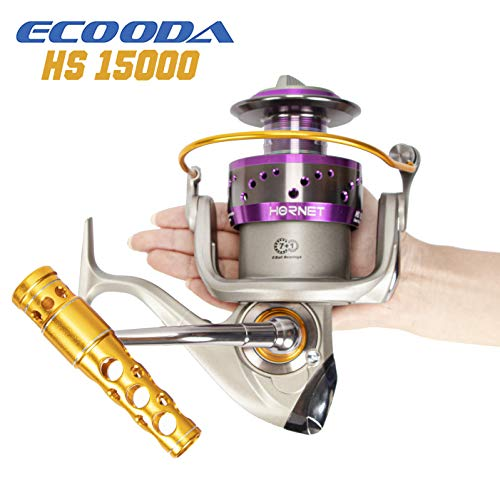 2019 ECOODA Heavy Duty Metal Spinning Jigging Fishing Reels Big Game Saltwater Waterproof Body Boat Trolling Fishing Reel HS15000 Max Drag:30kg/66lbs (Best Saltwater Spinning Reel 2019)