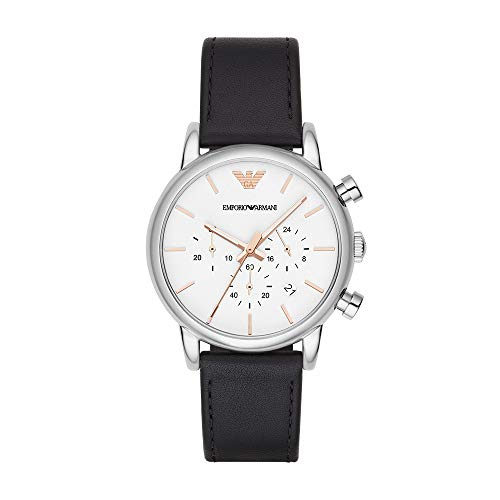 Emporio Armani Men's Quartz Stainless Steel and Leather Watch, Color:Black (Model: AR2075)