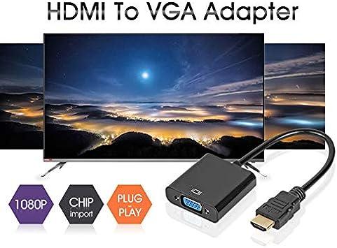 Alextry Adaptateur HDMI vers VGA Adaptateur convertisseur m/âle vers femelle 1080P pour tablette PC portable noir