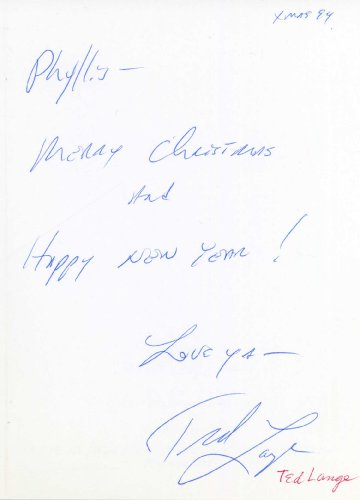 TED LANGE Hand Signed Christmas Card to Phyllis Diller – UACC RD#289
