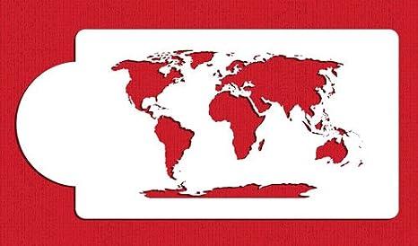 World Map Cake Stencil C977 by Designer Stencils