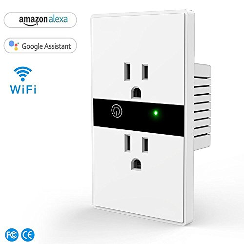 Woocon Smart Outlet that Work With Alexa, Wifi Remote Control In-Wall Socket with Timing Function, No hub Required,Compatible With Echo Dot/Tab/Plus and Google Home