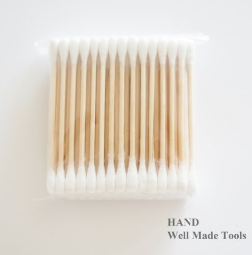 HAND 3 Packungen mit Doppel End Holzgriff Wattestäbchen Buds Weiß, 100 Counts pro Packung Well Made Tools