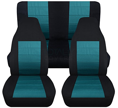 2-Tone Car Seat Covers: Black and Teal - Universal Fit - Full Set - Front Buckets & Rear Bench - Option for Airbag/Seat Belt/Armrest/Release/Lever/Split ()