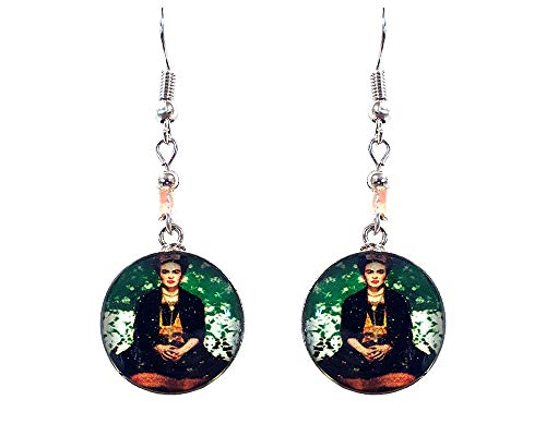 Mia Jewel Shop Frida Kahlo Famous Artist Round Silver Dangle Earrings