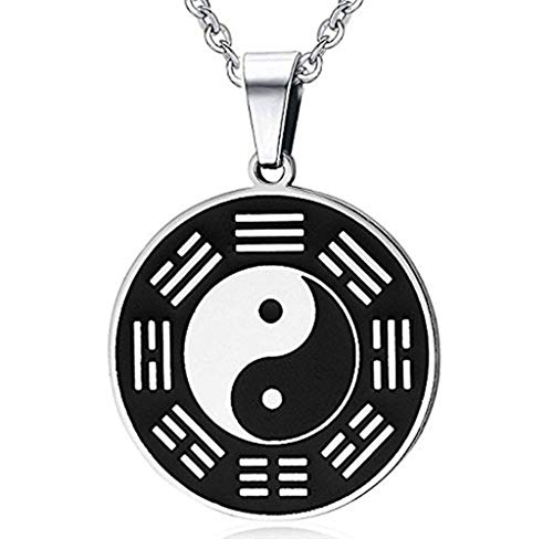 (Men's Stainless Steel Retro Round Amulet Pendant with Taiji Eight Diagrams Yin Yang Necklace, 24