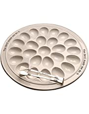 "Mud Pie 40700094 Circa Round Plate Set Deviled Egg Tray 14.25"" Diameter White"