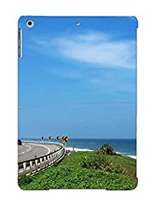 Inthebeauty Perfect Tpu Case For Ipad Air/ Anti-scratch Protector Case (clouds Nature Coast Roads Taiwan Roadsigns Skyscapes Blue Skies Sea )