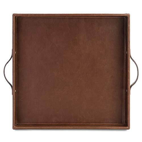 ranslen Large Square Decorative Serving Tray with Handles PU Leather, Gorgeous Sturdy Perfect Tray Size for Coffee Table, Picnic Table, Teapot, Cup, Eating in Bed,Square Brown