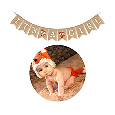 Cieovo Woodland Animals It's A Girl Burlap Happy Birthday Banner Burlap Fox Banners for Baby Shower Animals Themed Birthday Party Decoration: Health & Personal Care