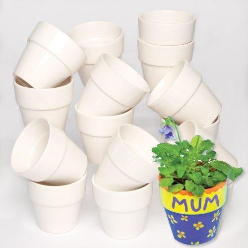 Amazon UK & Baker Ross Mini Porcelain Flowerpots (Pack Of 6) For Kids To Decorate