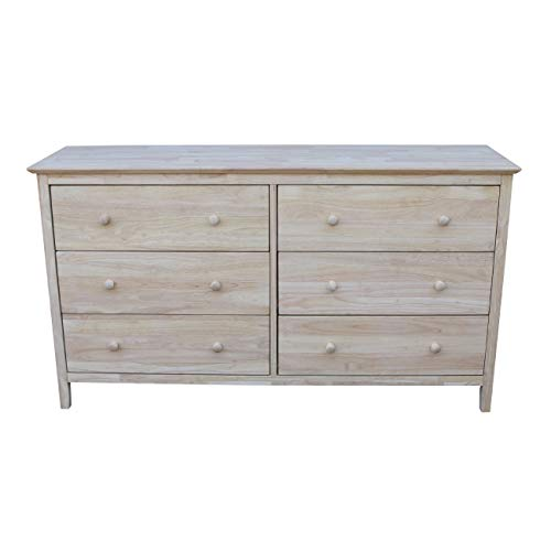 (International Concepts Dresser with 6 Drawers, Unfinished)
