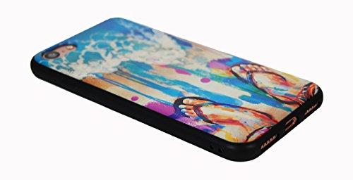 Cover iPhone 7, JR Design™ Cover Silicone Morbida Stampa Artisti con effetti in rilievo, Summer Apple iPhone 7 Cover TPU Nera JP_042