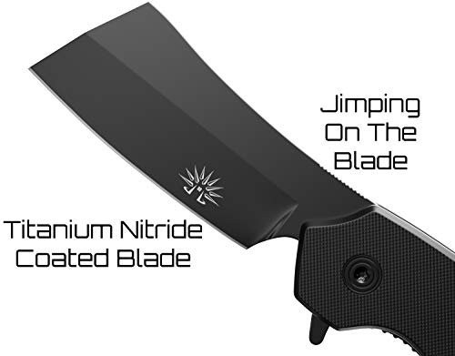 Off-Grid Knives - OG-950XB Cleaver Compact Blackout - Hard Use Legal Carry EDC Folding Knife, Safety Grid-Lock Turns This Folder Into a Fixed Blade, Cryo AUS8 Blade with TiNi, G10, Tip-Up Deep Carry by Off-Grid Knives (Image #3)