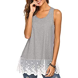 Women S Vest Stitching Lace Sleeveless Casual Shirt Fashion Solid Color Summer Wild Loose T Shirt Vest Meeya Gray