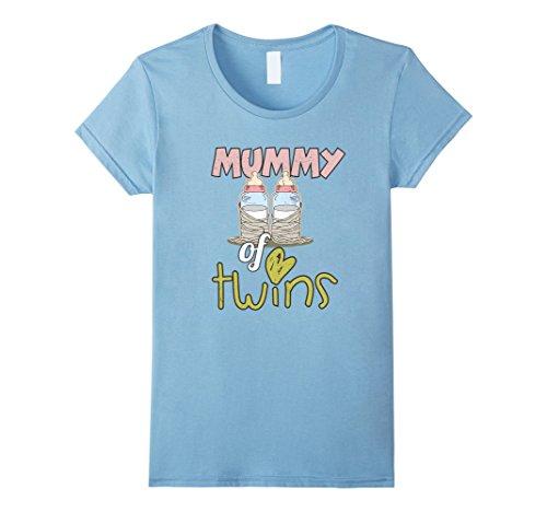 Womens Mummy Of Twins Funny Halloween Costume Twin Mom T Shirt XL Baby Blue