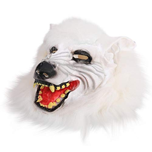 Nesee Funny Wolf Head Mask Halloween Cosplay Costume Party Decor (White)]()