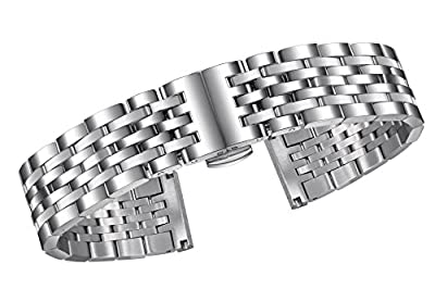 Silver Metal Watch Wristband Solid Stainless Steel with Both Straight and Curved ends