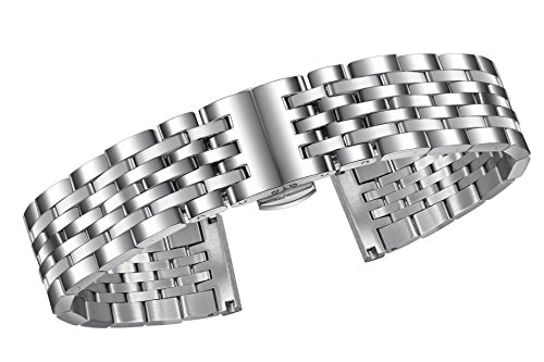 22mm Deluxe Solid Stainless Steel Watch Band in Silver with Straight or Curved Ends and Fold-Over ()