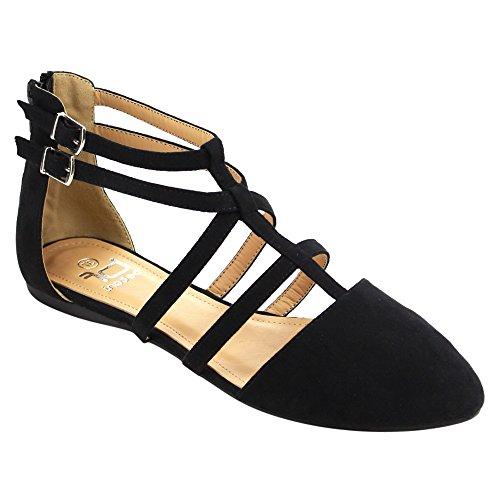 Betani Mujeres Abela-1 Ballerina Flats | Sandalias De Doble Correa De Tobillo | Sandalias T-strap | Cómodas Sandalias Para Mujeres Negras