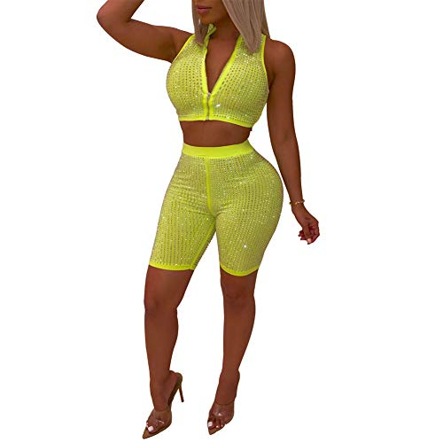 Womens Sexy Glitter Rhinestone Zipper 2 Piece Outfits Sleeveless Crop Top + Knee Length Bodycon Shorts Sets Fluorescent Green S ()