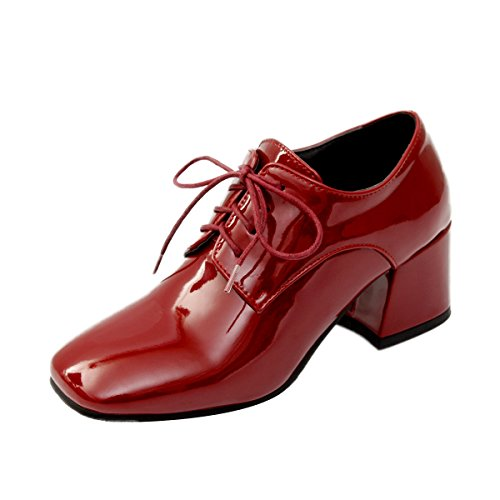 - Inornever Wingtip Oxford Womens Lace Up Chunky High Heel Vintage Patent Leather Dress Pumps Shoes Wine Red2 7.5 B (M) US