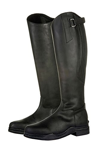 HKM Riding Long 39 Horse Mucking Out Black Boots Leather Proof Country Yard Water XrXxC