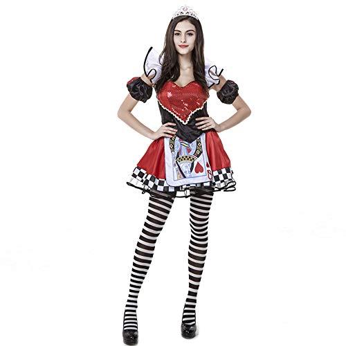 YOMORIO Halloween Wonderland Queen Costumes for Women Sexy Poker Elf Dress Red Heart -