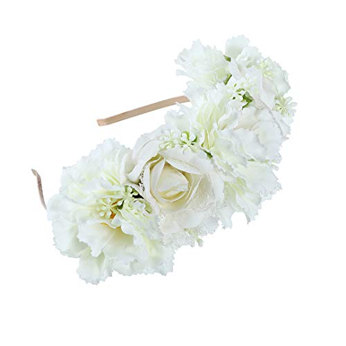 Fabric Flower Crown Headband Boho Bride Floral Wreath Wedding Hairband For Women Hair Accessories Style 4