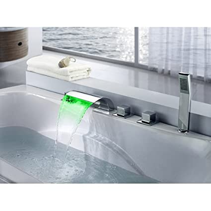 Wonderful Lovedima Victoria Bathroom Waterfall Bathtub Faucet Set LED Roman Tub  Filler With Handheld Shower