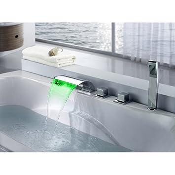 hand held shower for tub faucet. Lovedima Victoria Bathroom Waterfall Bathtub Faucet Set LED Roman Tub Filler  with Handheld Shower