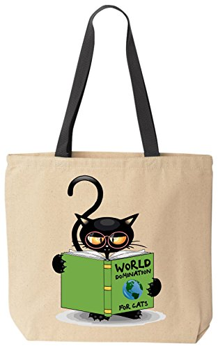 World Domination For Cats - Funny Cat Lover Canvas Tote Bag by BeeGeeTees® for Grandma's Kitty Rescue