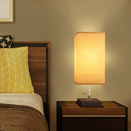 USB Table Desk Lamp, Acaxin Bedside Lamp with Dual USB Quick Charge Port, Wood Desk Lamp, Black Charger Base with Unique Fabric Shade, LED Light Nightstand Desk Lamps for Bedroom, Living Room, Baby