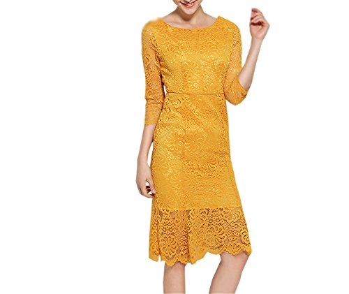 Linquchansds NEW New Summer Fashion European Style Yellow Lace Hollow Out Ruffles Dress Elegant Women Sheath Mermaid Party Dress Gold XL