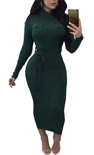 Donna Jaycargogo Da Collo Maniche Verde Abito Con Colore Lunghe Cintura Finto Di Solido A nqqTwtUa