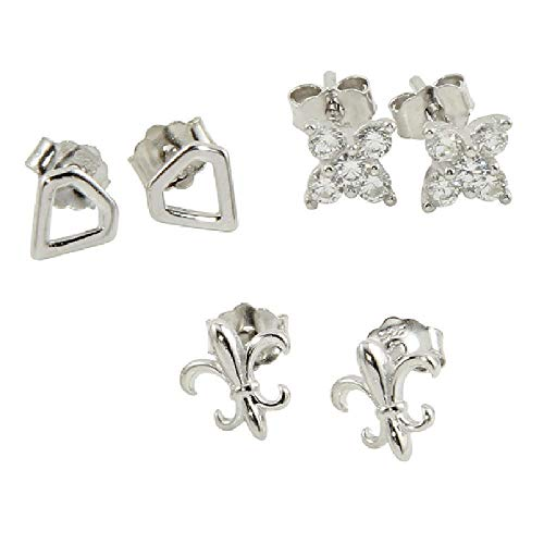 SURANO DESIGN JEWELRY Sterling Silver 3 Pairs Stud Earrings,Set of Triangle,Fleur de Lis,CZ Butterfly