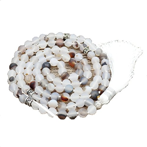 Necklace Bead Flower (Matte Gemstone Mala Prayer Beads Necklace, mala bracelet, tassel necklace, Handmade necklace (Matte flower agate))