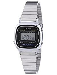 Casio Women's Quartz Watch with Black Dial Digital Display and Silver Stainless Steel Bracelet LA670WEA-1EF with Countdown Timer