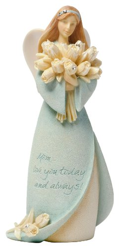 Love You Mom Angel Figurine Holding Flowers